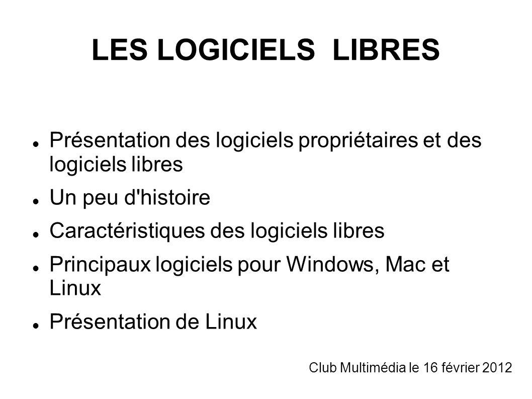LES LOGICIELS LIBRES Présentation des logiciels propriétaires et des logiciels libres. Un peu d histoire.