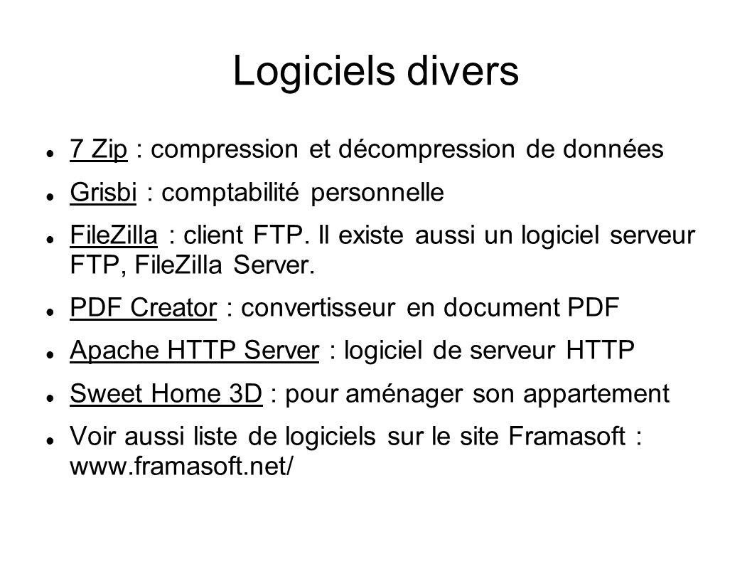 Logiciels divers 7 Zip : compression et décompression de données