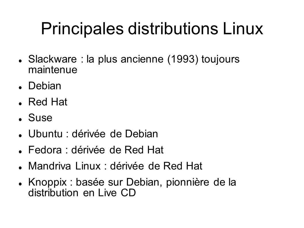 Principales distributions Linux
