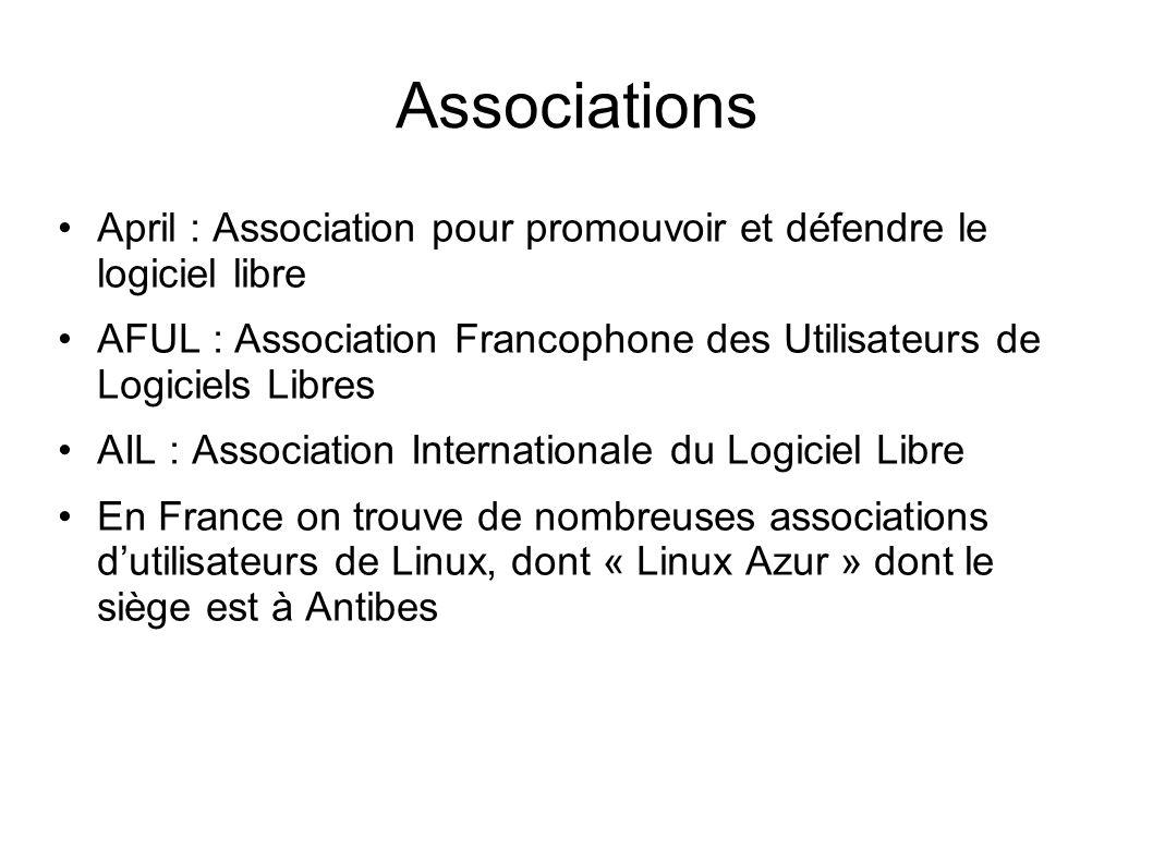 Associations April : Association pour promouvoir et défendre le logiciel libre.