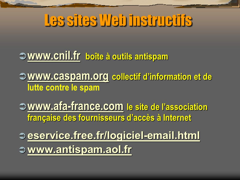 Les sites Web instructifs
