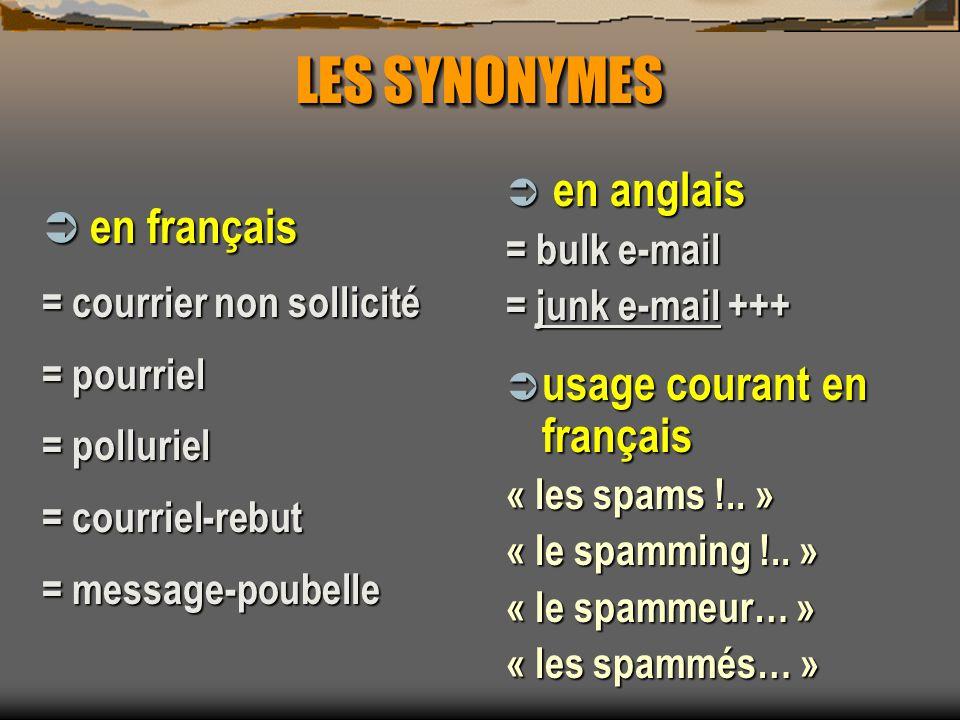 LES SYNONYMES en français en anglais usage courant en français