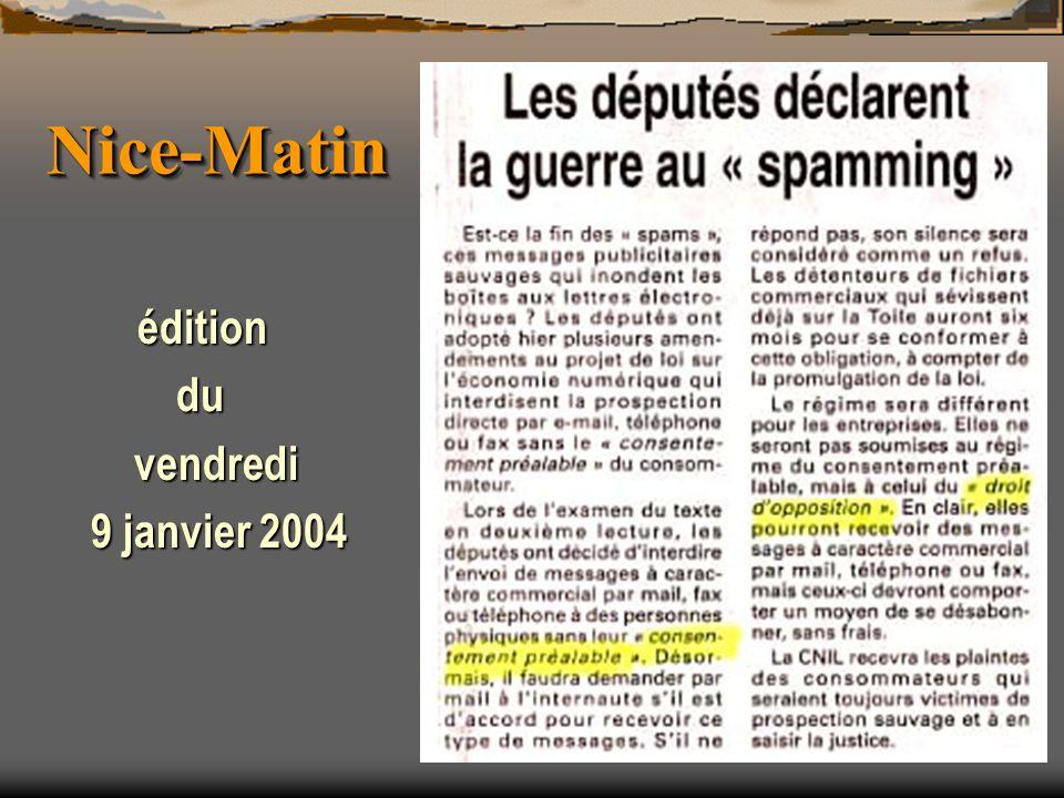 Nice-Matin édition du vendredi 9 janvier 2004