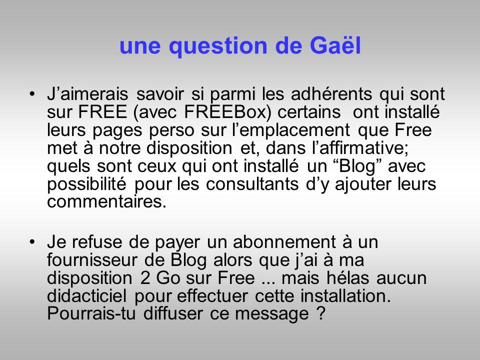 une question de Gaël