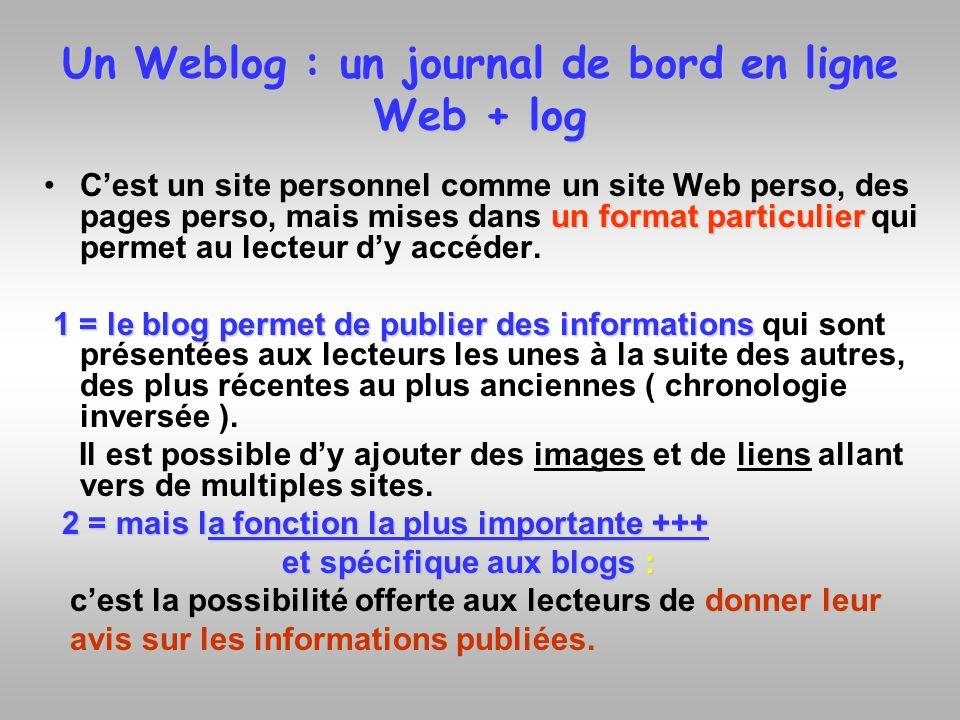 Un Weblog : un journal de bord en ligne Web + log