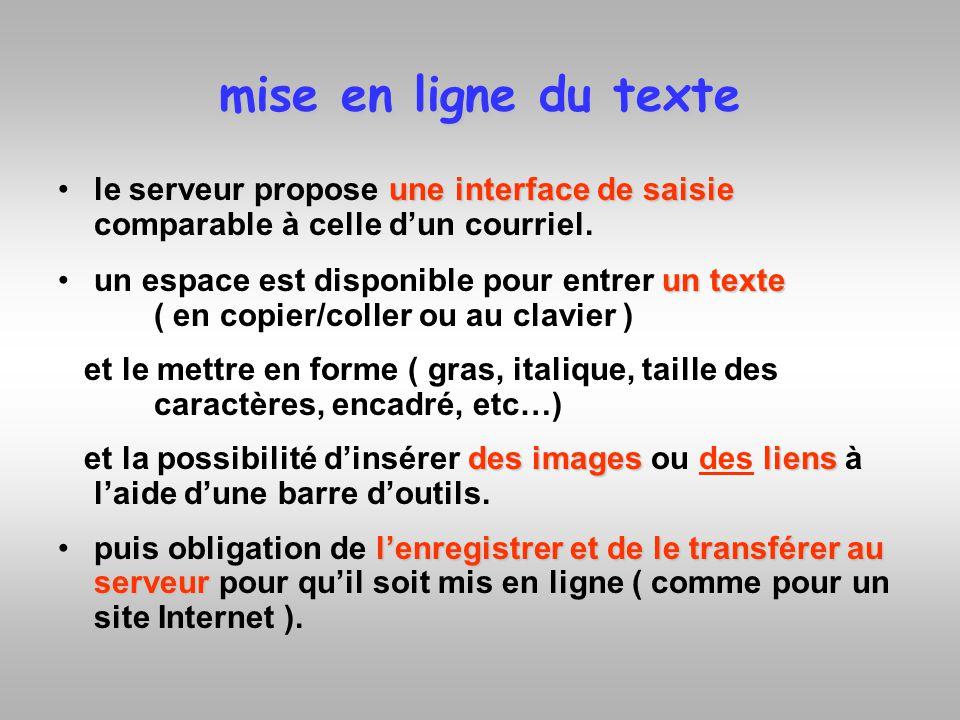 mise en ligne du texte le serveur propose une interface de saisie comparable à celle d'un courriel.