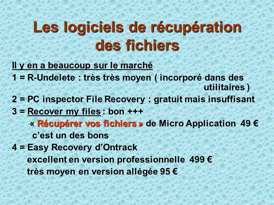 Les logiciels de récupération des fichiers