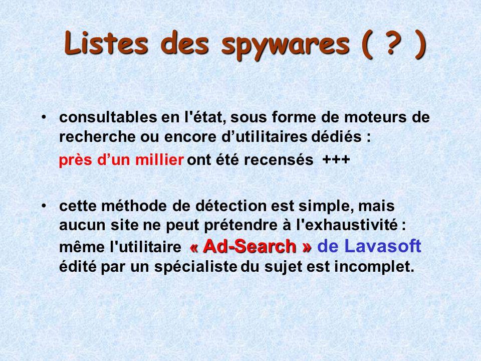 Listes des spywares ( ) consultables en l état, sous forme de moteurs de recherche ou encore d'utilitaires dédiés :
