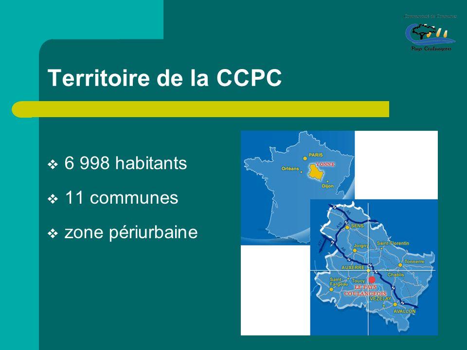 Territoire de la CCPC 6 998 habitants 11 communes zone périurbaine