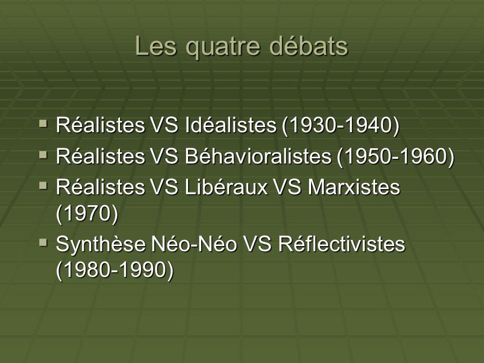 Les quatre débats Réalistes VS Idéalistes (1930-1940)