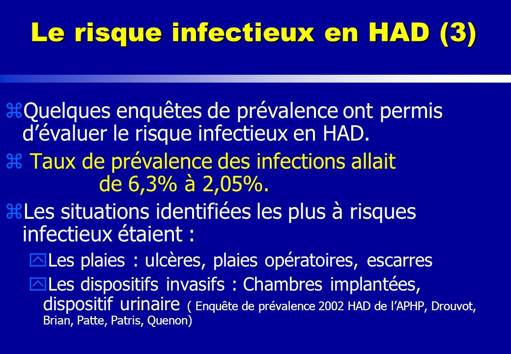 Le risque infectieux en HAD (3)