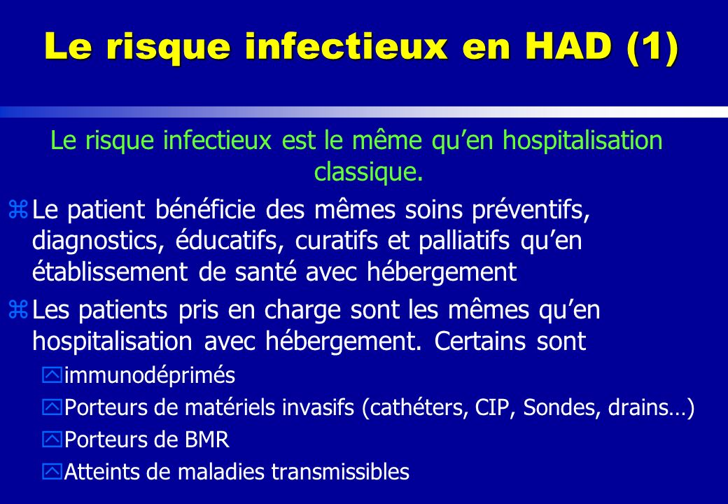 Le risque infectieux en HAD (1)