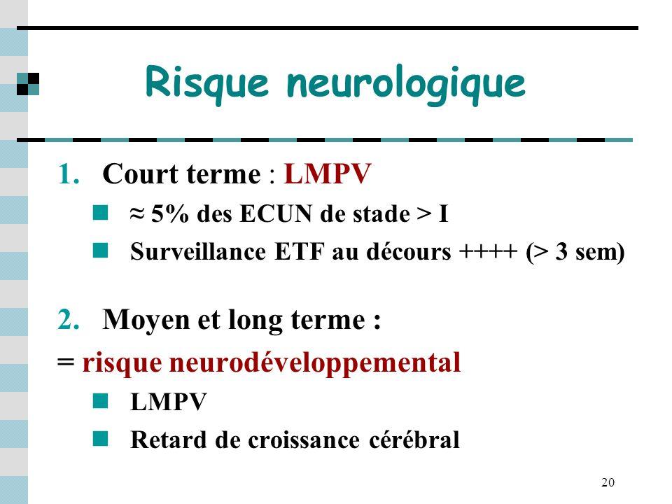 Risque neurologique Court terme : LMPV Moyen et long terme :