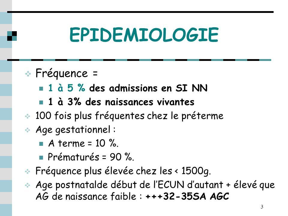 EPIDEMIOLOGIE Fréquence = 1 à 5 % des admissions en SI NN
