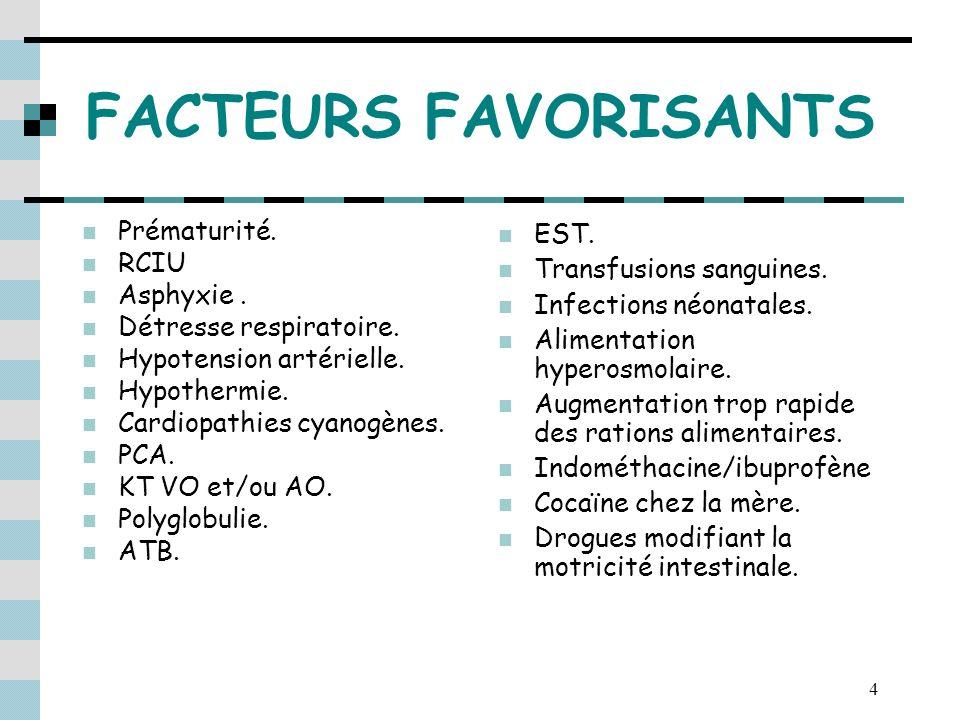 FACTEURS FAVORISANTS Prématurité. RCIU Asphyxie .
