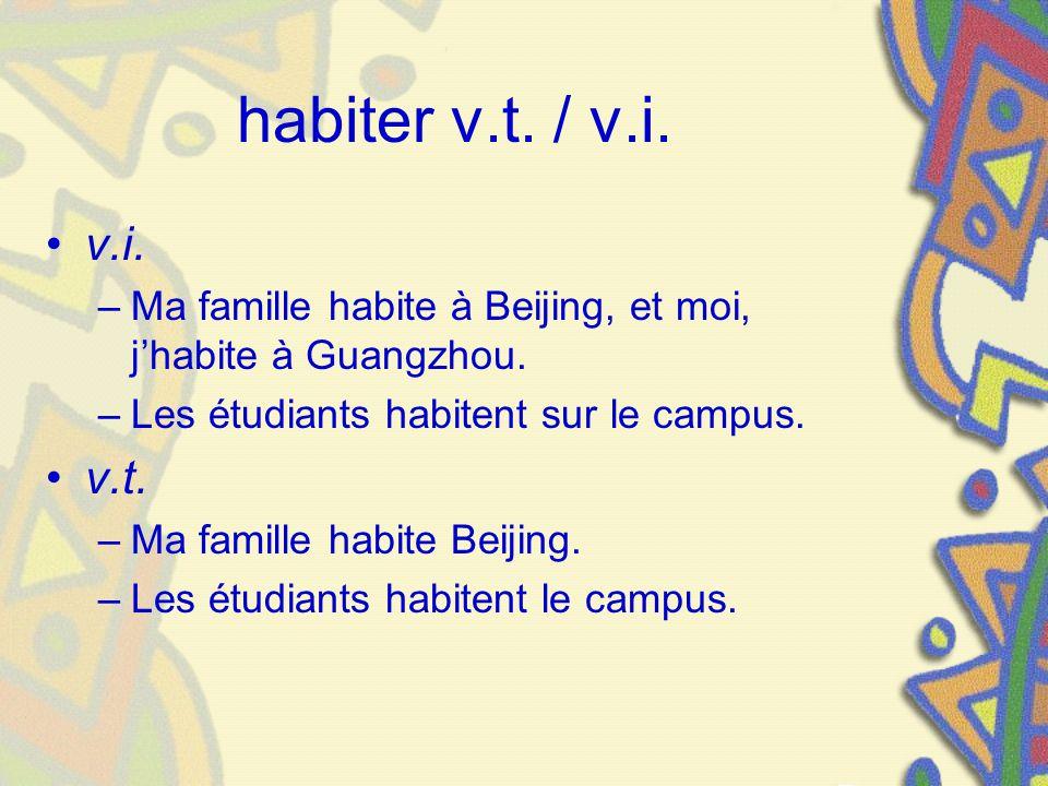 habiter v.t. / v.i. v.i. Ma famille habite à Beijing, et moi, j'habite à Guangzhou. Les étudiants habitent sur le campus.