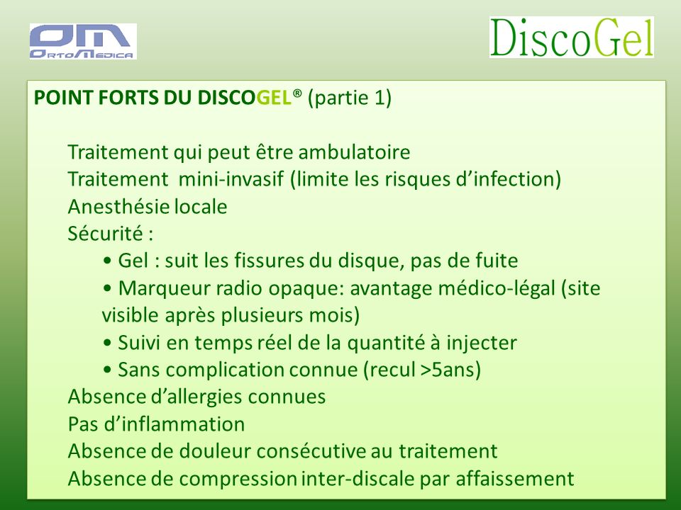 POINT FORTS DU DISCOGEL® (partie 1)