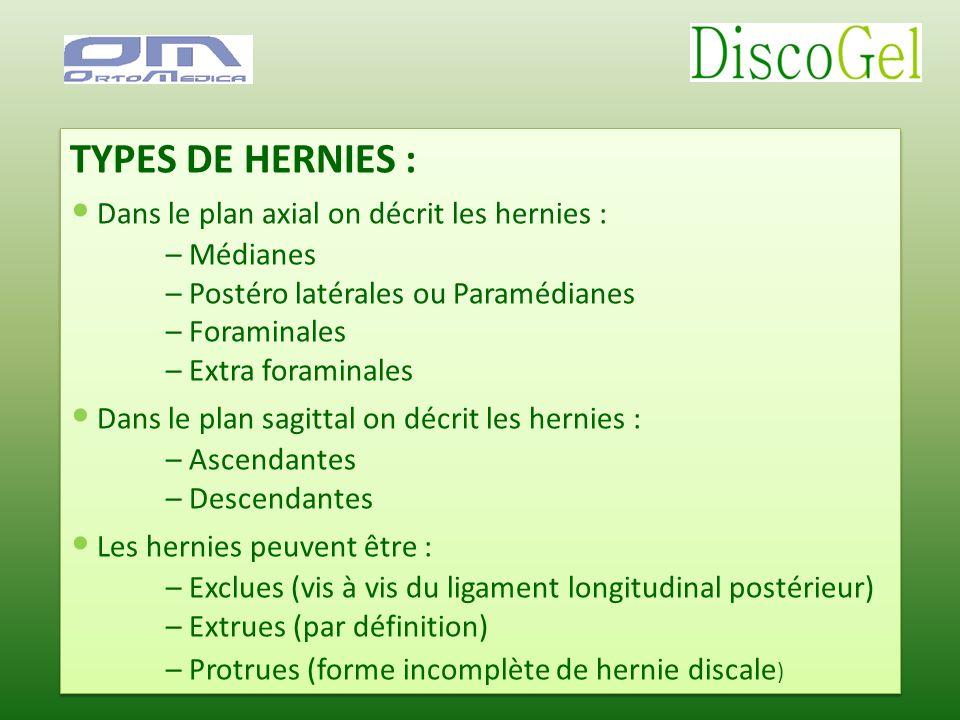 • Dans le plan axial on décrit les hernies :