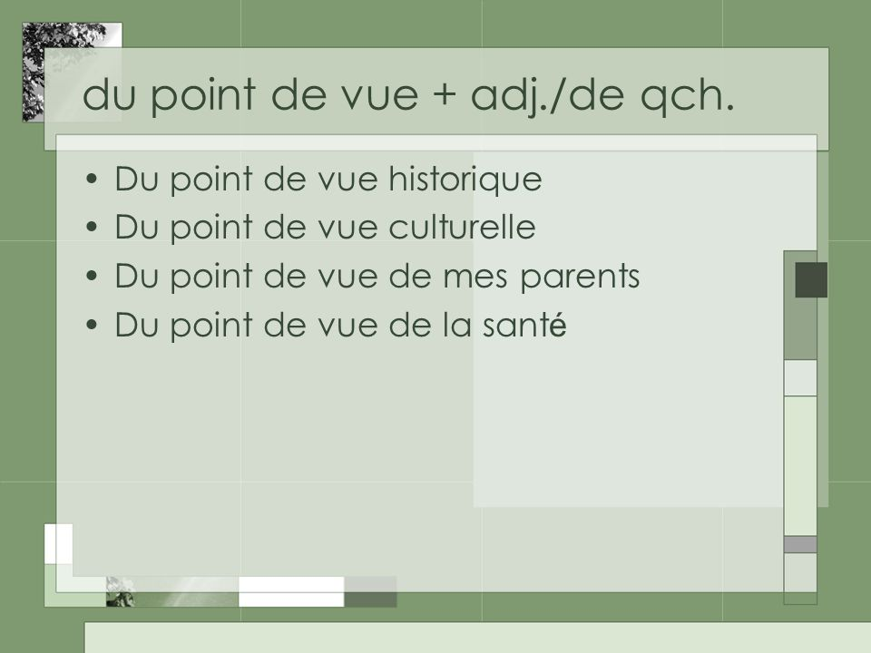 du point de vue + adj./de qch.