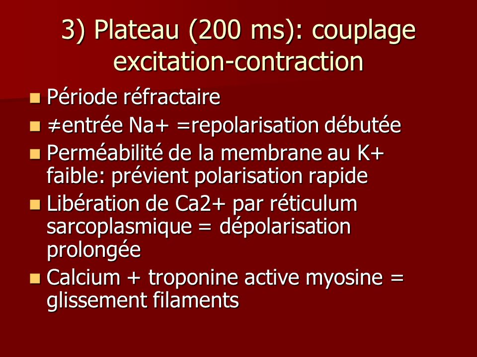 3) Plateau (200 ms): couplage excitation-contraction