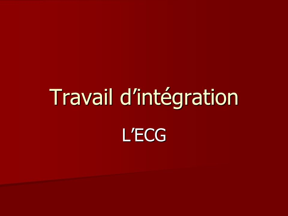 Travail d'intégration