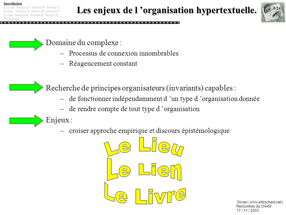 Les enjeux de l 'organisation hypertextuelle.