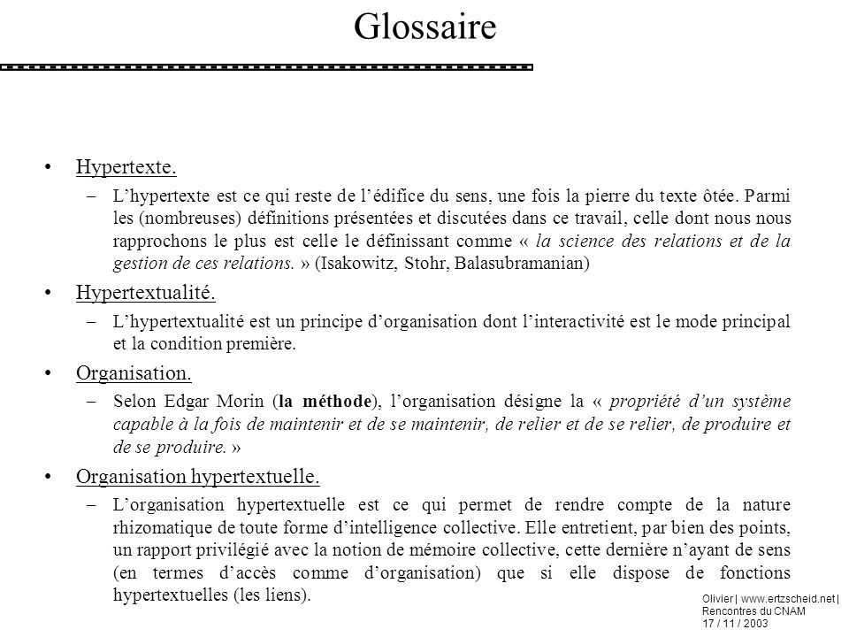 Glossaire Hypertexte. Hypertextualité. Organisation.