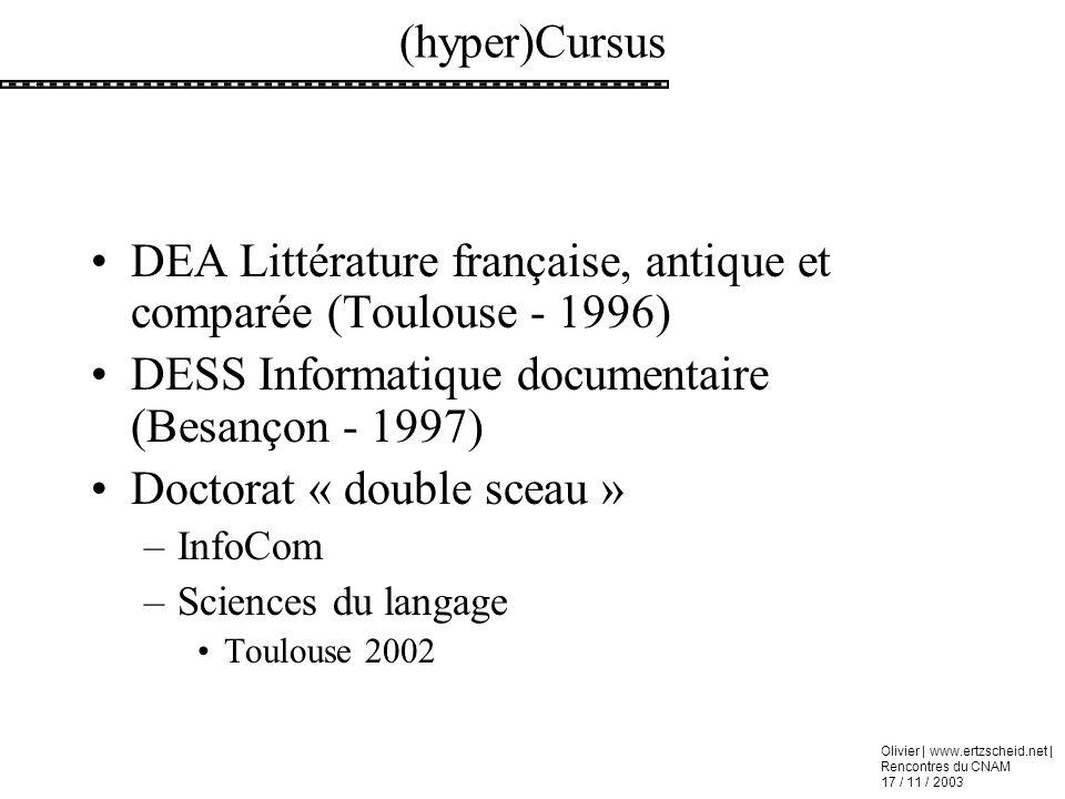 DEA Littérature française, antique et comparée (Toulouse - 1996)