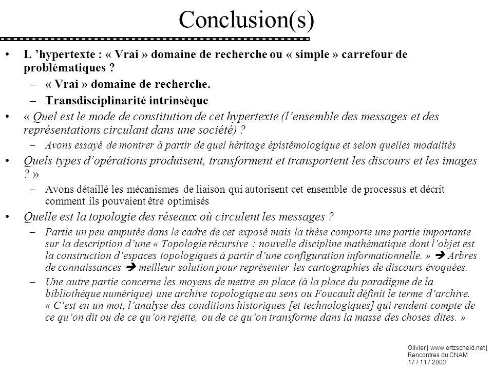 Conclusion(s) L 'hypertexte : « Vrai » domaine de recherche ou « simple » carrefour de problématiques
