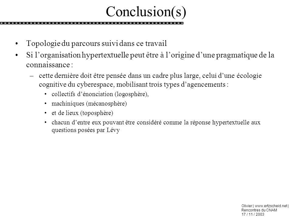 Conclusion(s) Topologie du parcours suivi dans ce travail