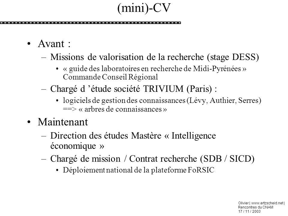 (mini)-CV Avant : Maintenant