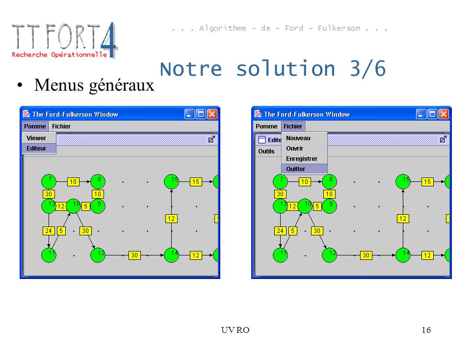 Notre solution 3/6 Menus généraux UV RO