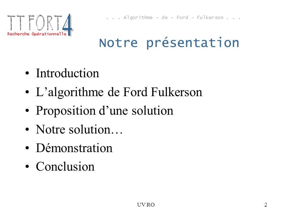 L'algorithme de Ford Fulkerson Proposition d'une solution