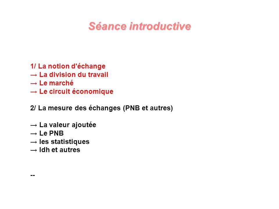 Séance introductive 1/ La notion d échange → La division du travail