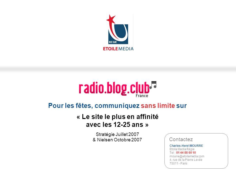 REGIE Pour les fêtes, communiquez sans limite sur « Le site le plus en affinité avec les 12-25 ans » Stratégie Juillet 2007 & Nielsen Octobre 2007.