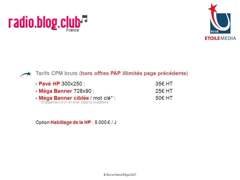 Tarifs CPM bruts (hors offres PAP illimités page précédente)