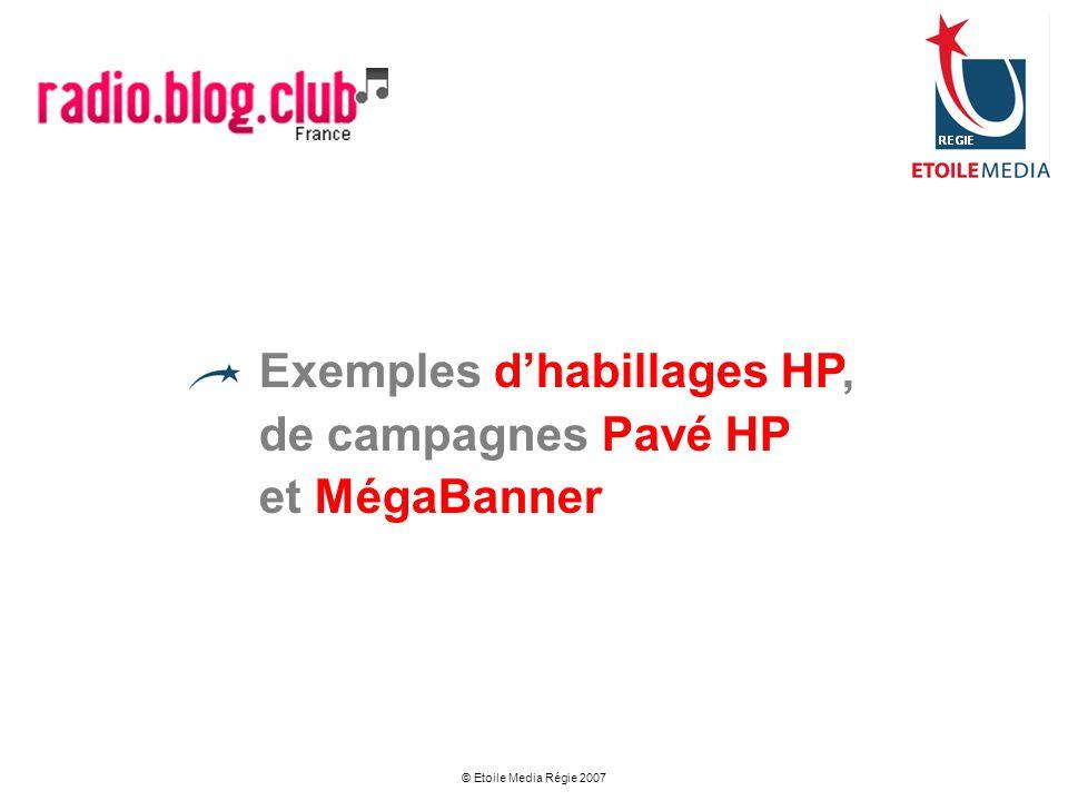 Exemples d'habillages HP, de campagnes Pavé HP et MégaBanner