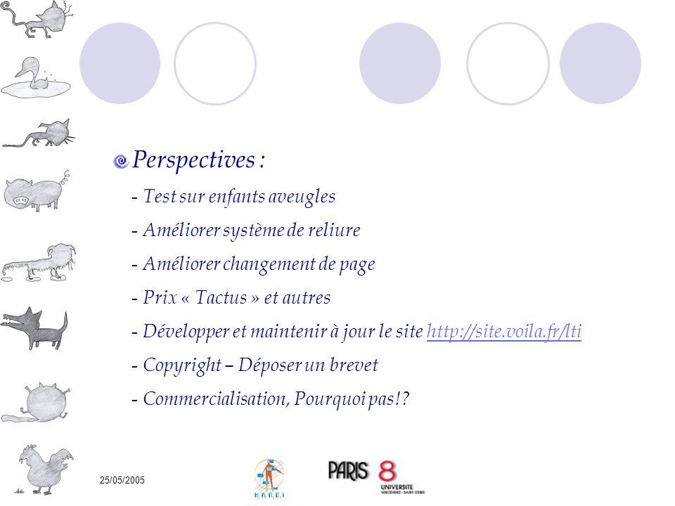 Perspectives : Test sur enfants aveugles Améliorer système de reliure