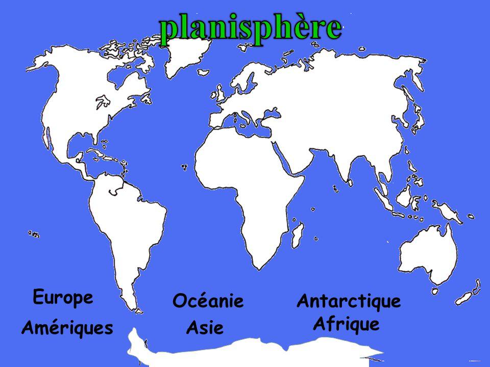 planisphère Europe Océanie Antarctique Afrique Amériques Asie
