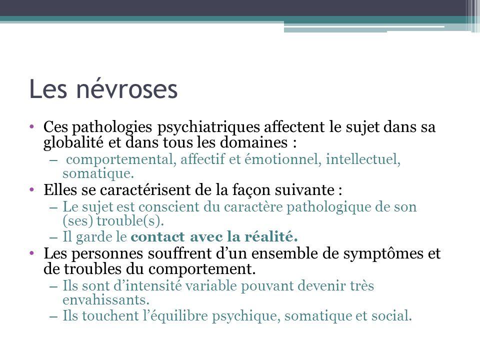 Les névroses Ces pathologies psychiatriques affectent le sujet dans sa globalité et dans tous les domaines :