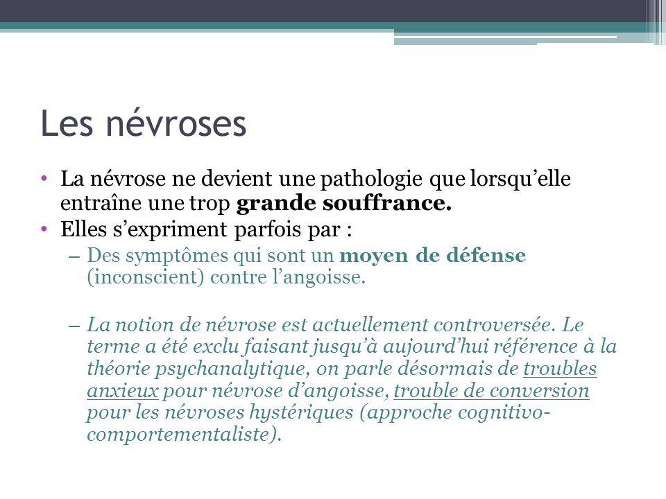 Les névroses La névrose ne devient une pathologie que lorsqu'elle entraîne une trop grande souffrance.
