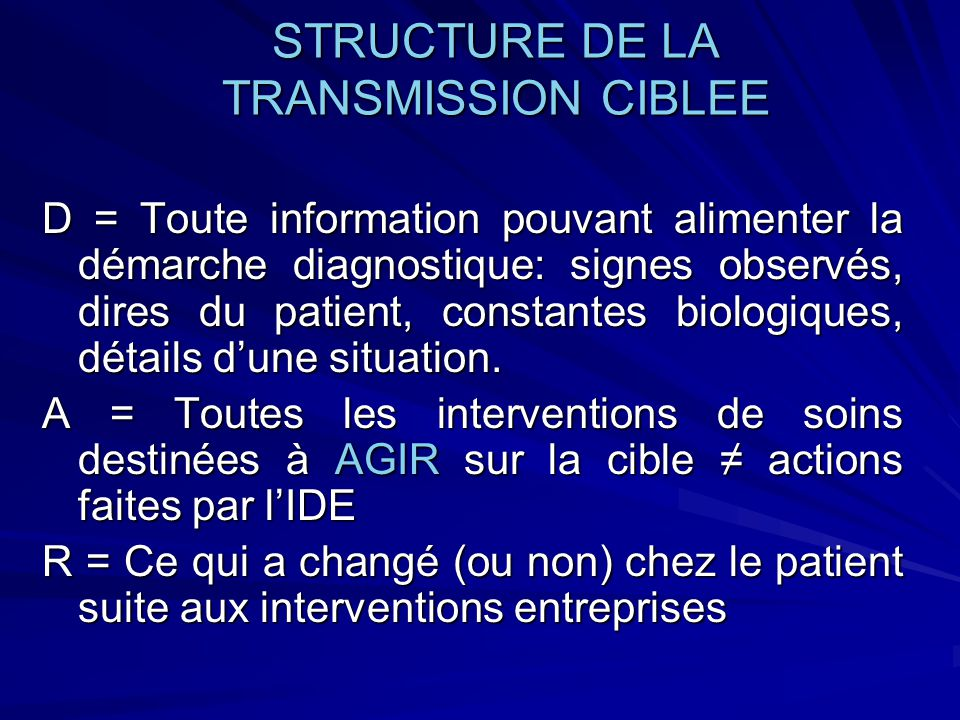 STRUCTURE DE LA TRANSMISSION CIBLEE