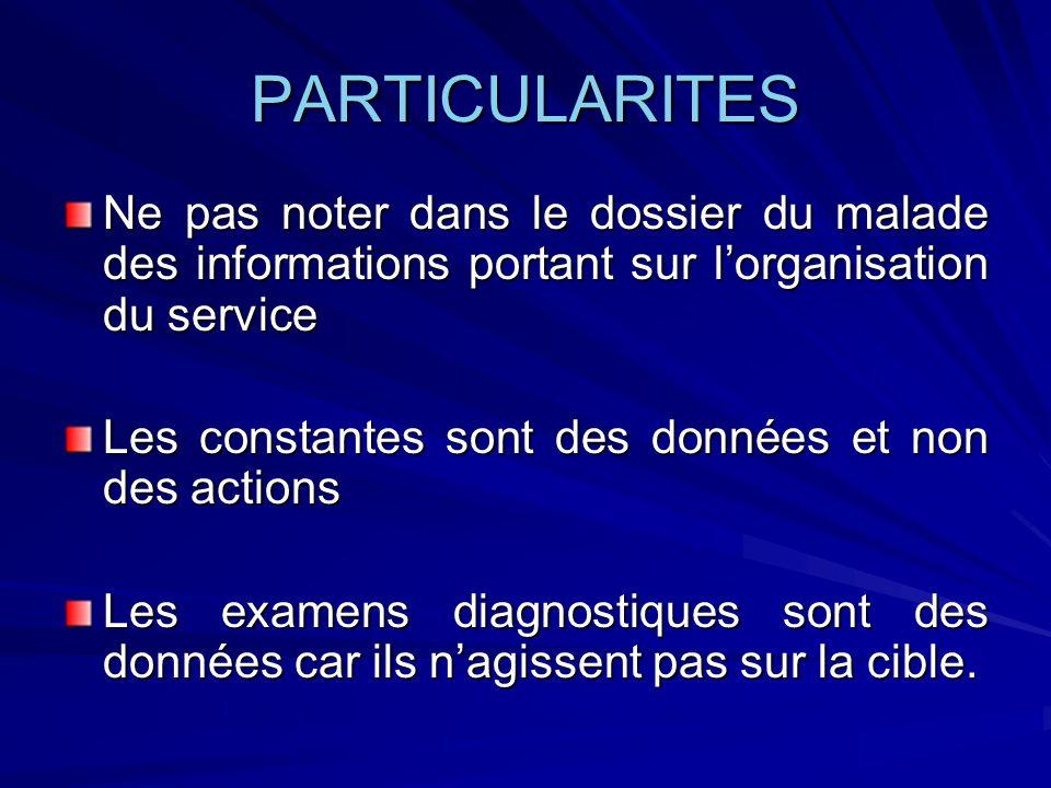 PARTICULARITES Ne pas noter dans le dossier du malade des informations portant sur l'organisation du service.