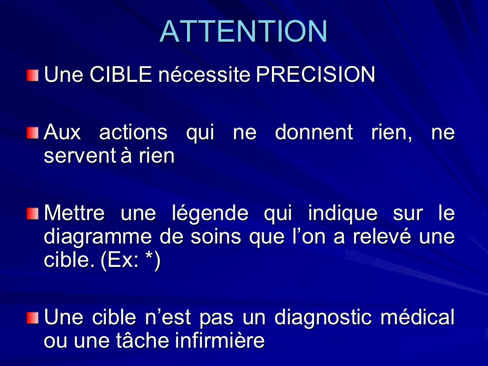ATTENTION Une CIBLE nécessite PRECISION