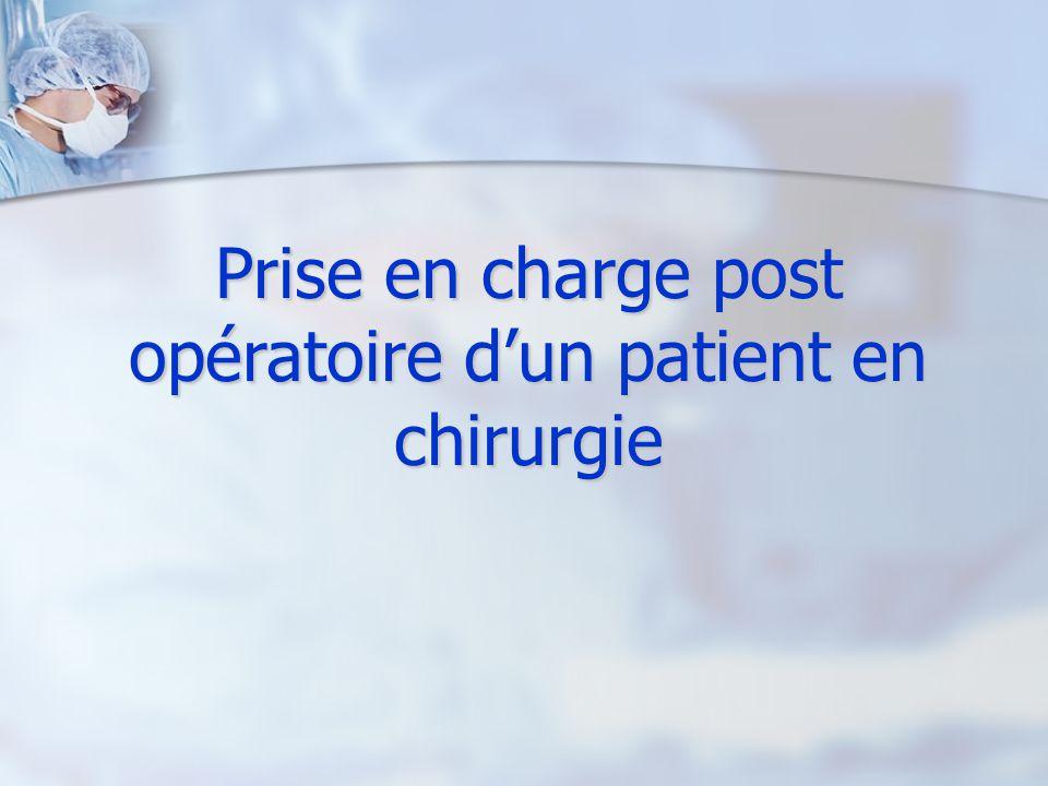 Prise en charge post opératoire d'un patient en chirurgie