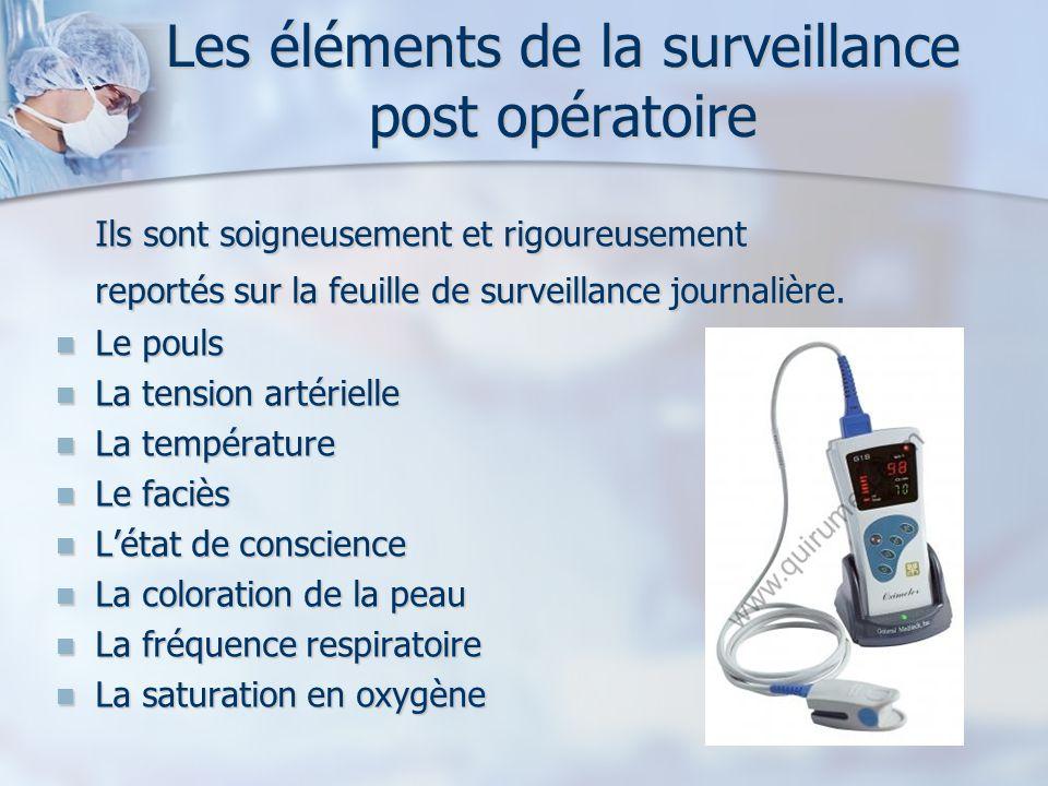 Les éléments de la surveillance post opératoire