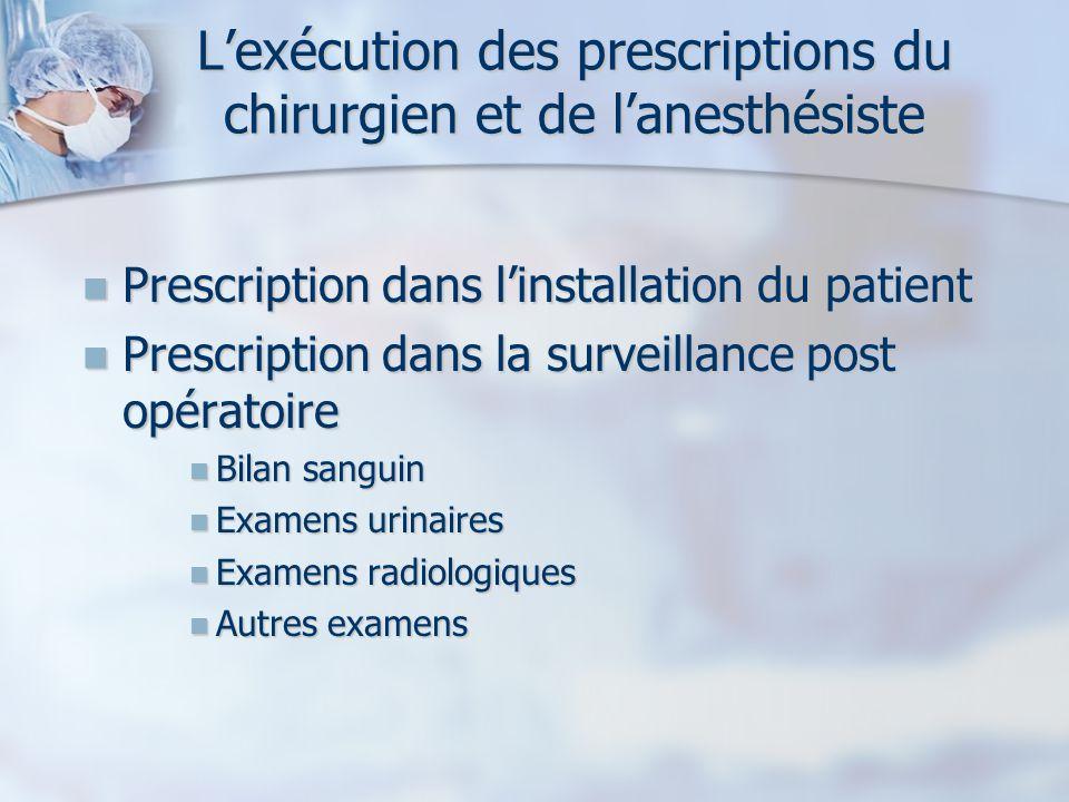 L'exécution des prescriptions du chirurgien et de l'anesthésiste