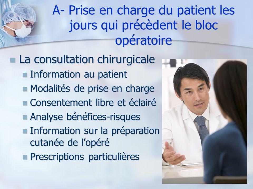A- Prise en charge du patient les jours qui précèdent le bloc opératoire
