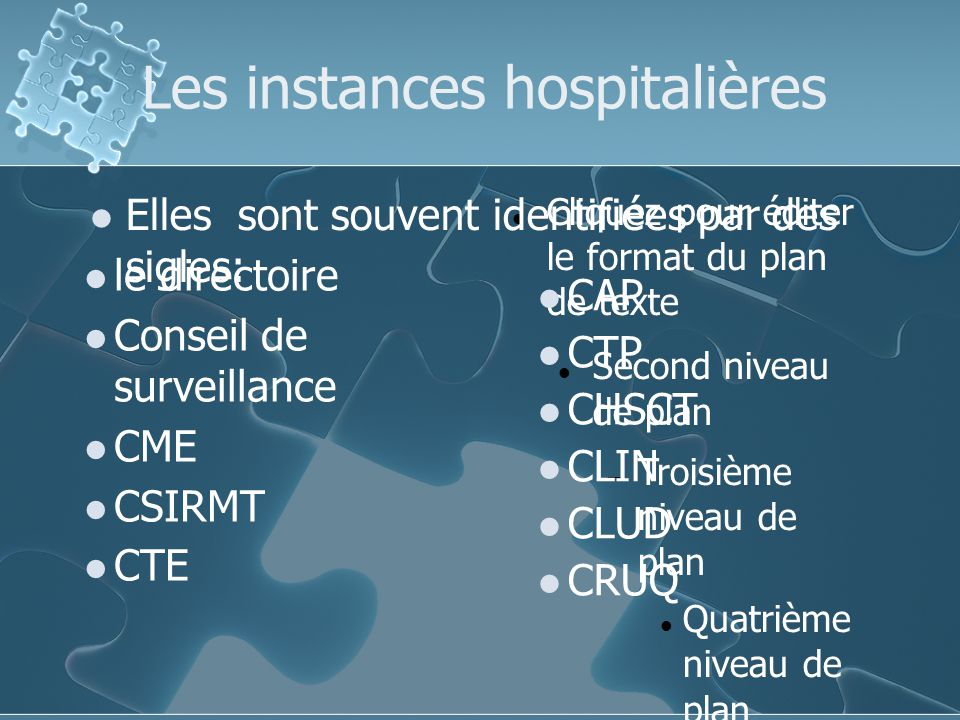 Les instances hospitalières