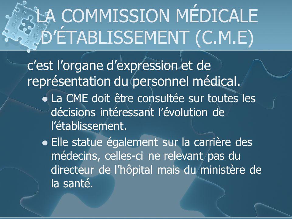 LA COMMISSION MÉDICALE D'ÉTABLISSEMENT (C.M.E)